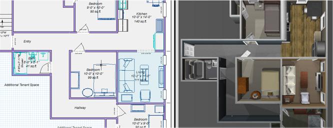 2D- und 3D-Pläne gleichzeitig anzeigen